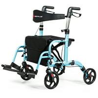 Goplus Folding Medical Rollator Walker Aluminum Transport Chair Adjustable Handle RedBlackBlue