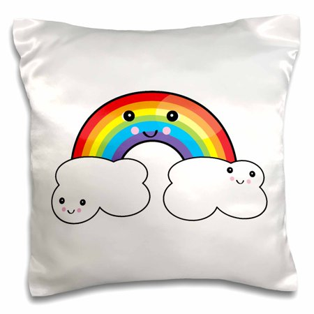 3dRose Cute Kawaii Rainbow and Cloud Pals, Pillow Case, 16 by 16-inch