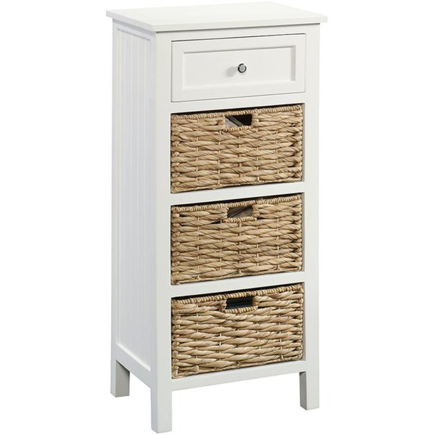 Sauder Cottage Road Storage Cabinet, White Storage Furniture With Baskets