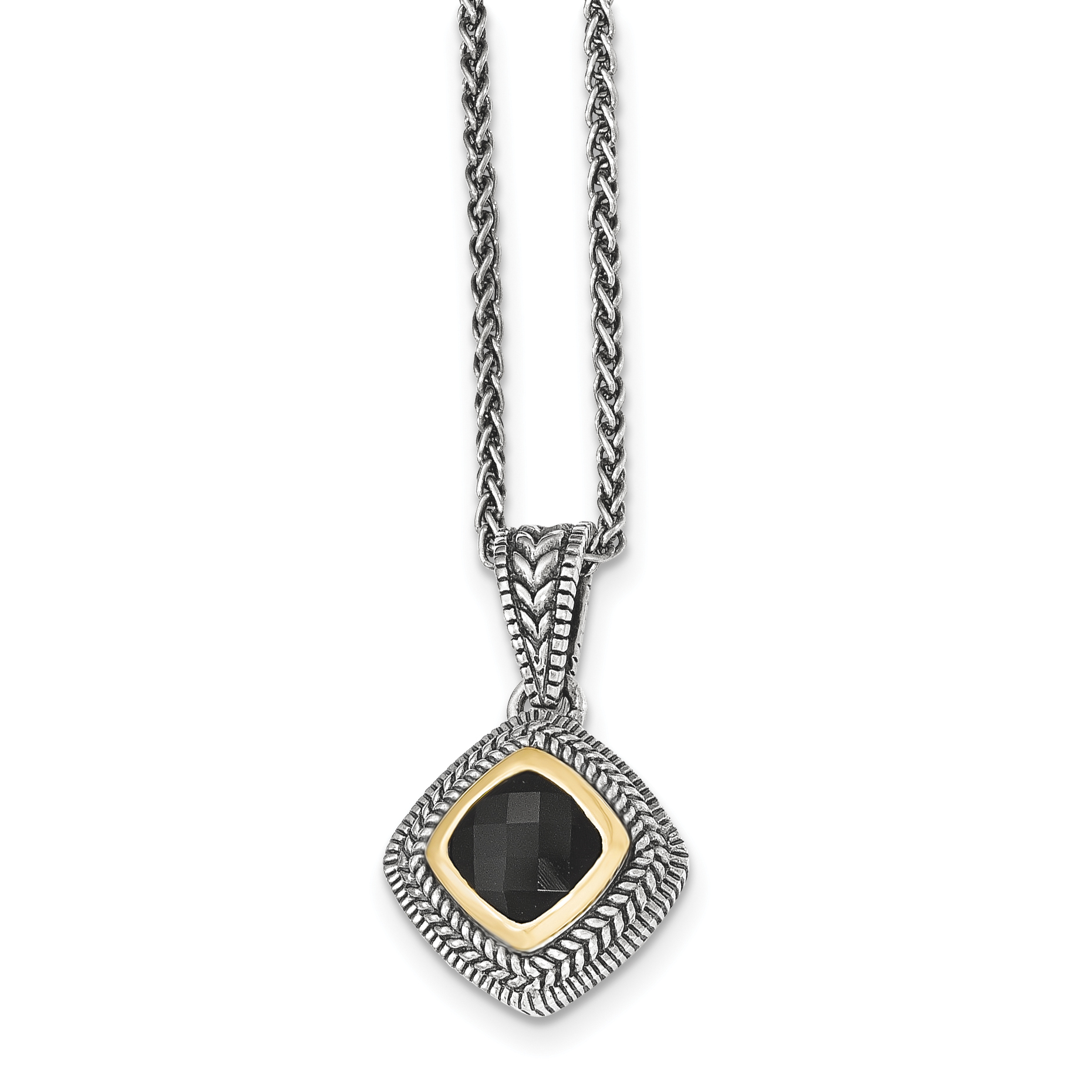 Sterling Silver Two Tone Silver And Gold Plated Sterling Silver w/Black Onyx Necklace - image 2 of 2