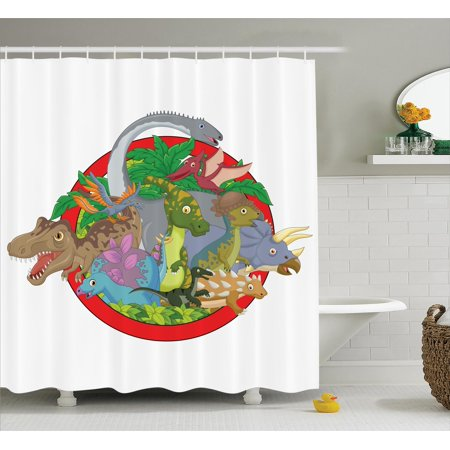 Jurassic Decor Shower Curtain Set Dinosaur Characters On
