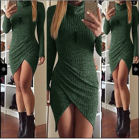 Women Knitted Long Sleeve Sweater Dress