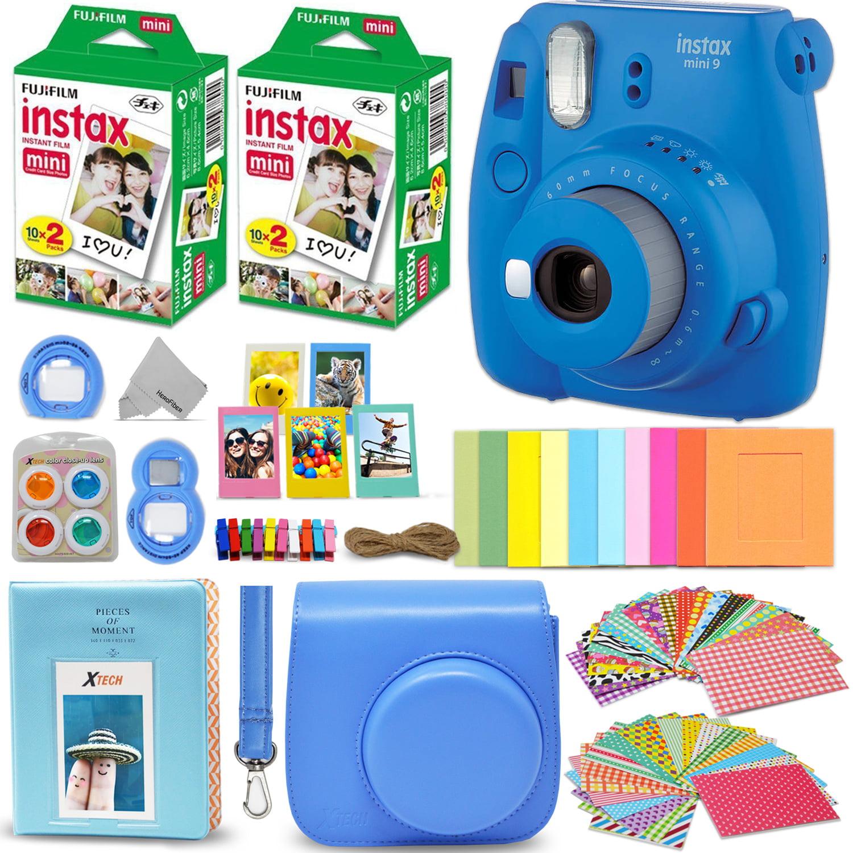Fujifilm Instax Mini 9 Instant Camera Cobalt Blue + Fuji INSTAX Film (40 Sheets) + Accessories Kit Bundle + Custom Case Strap + Assorted Frames + Photo Album + 60 Colorful Sticker Frames + More