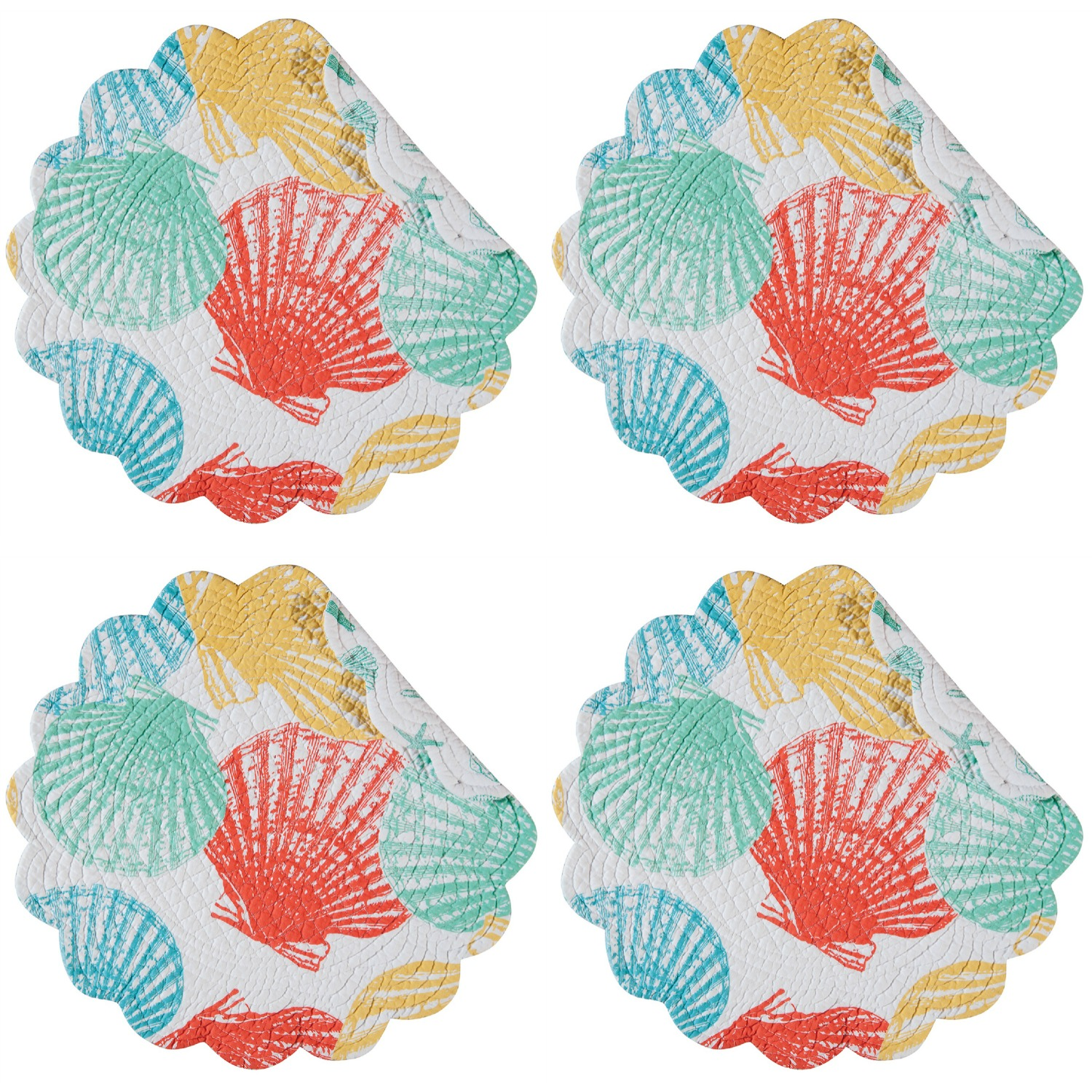 Captiva Island Shells Teal Yellow Green Round Quilted Scallop Placemats Set of 4