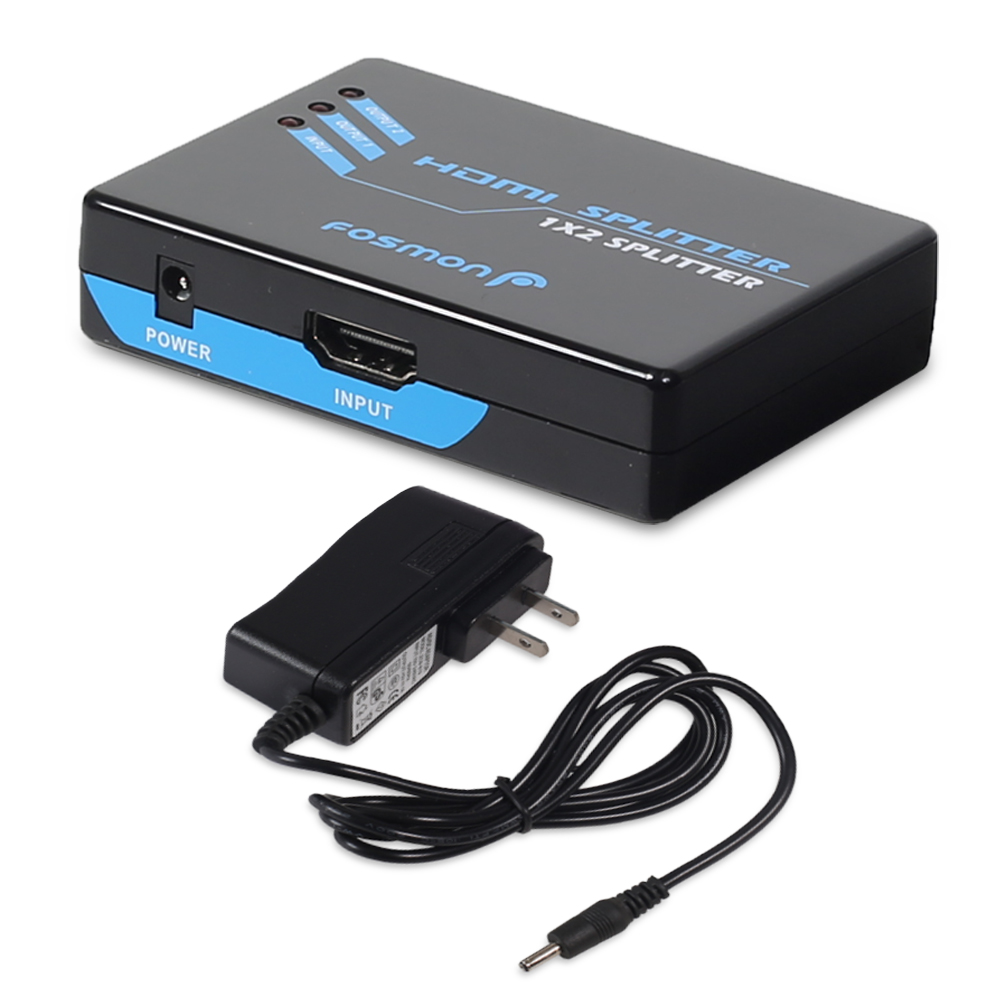 1-In 2-Out HDMI Splitter / Switcher / Amplifier [Support 3D | 1080p | HDCP 1.0/1.1] with Power Supply Adapter