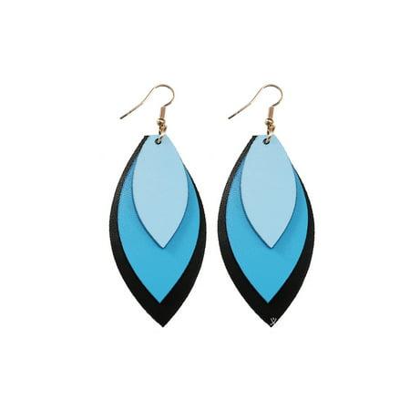 New Women Men Leopard Leather Teardrop Earrings Bohemia Dangle Drop Jewelry Gift (Teardrop Shaped Sapphire Earrings)