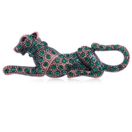 Leopard Cat Pin - ChicReproduct Fashion Crystal Green Leopard Pin Custom   Brooch