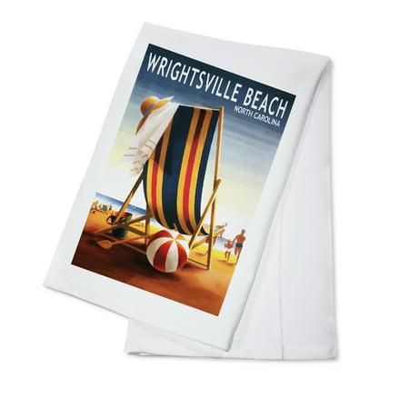 Wrightsville Beach, North Carolina - Beach Ball & Chair - Lantern Press Poster (100% Cotton Kitchen Towel) ()