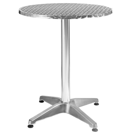 Costway Aluminum Stainless Steel Round Table 23 1/2'' Patio Bar Pub Restaurant Adjustable ()
