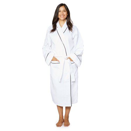 Cozy Fleece LLC Cotton Unisex Waffle Weave Bath Robe with Stylish Piping (Cozy Robe)
