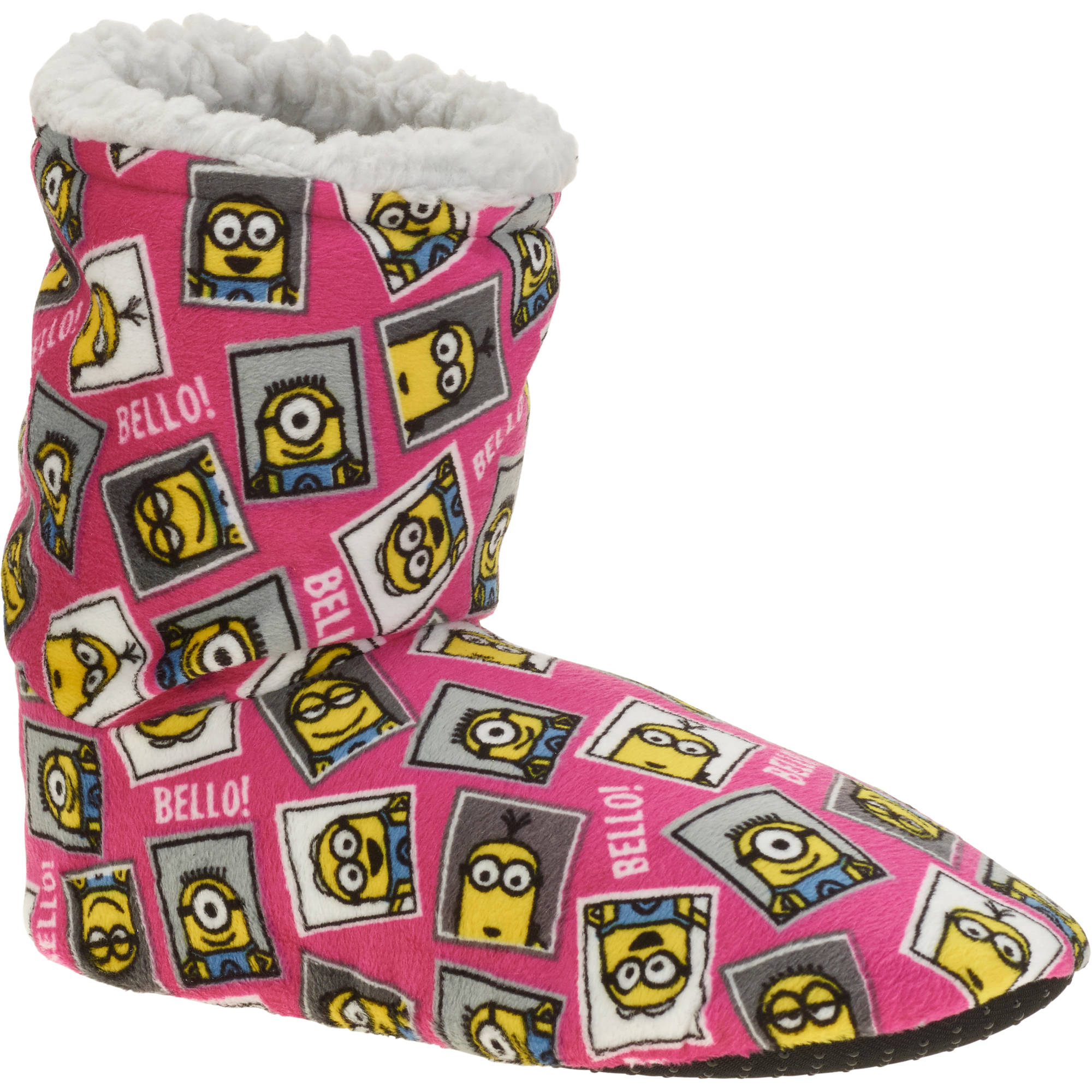Silky Suede Fuzzy Babba Despicable Me Minions Printed Bootie Slipper Socks