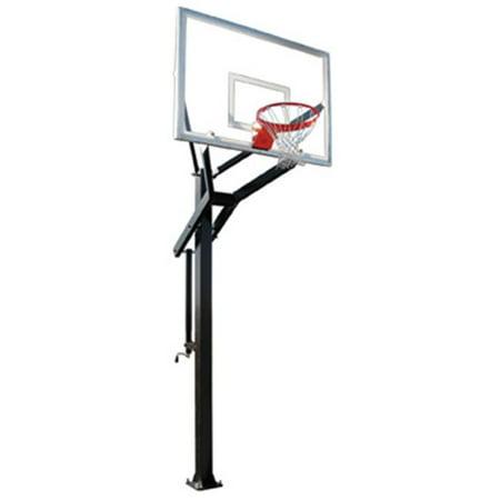 Steel Power Hoops (PowerHouse 560 Steel-Glass In Ground Adjustable Basketball System, Kelly Green)
