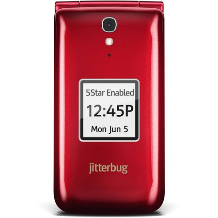 GreatCall Jitterbug Easy-to-Use Cell Phone for Seniors, Red (Land Line Flip Phone)