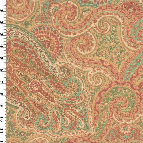Designer Linen Coral/Teal Paisley Print Home Decorating Fabric, Fabric By the Yard
