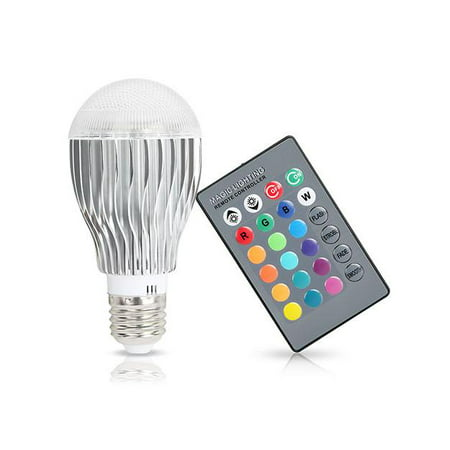 Color Changing RGB LED Light Bulb w/24-Key IR Remote Controller
