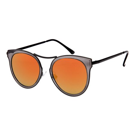 Edge-I-Wear Open Design Cat Eye Sunglasses with Mini Brow Bar and Flat Colored Mirror Lens (Flat Brow Sunglasses)