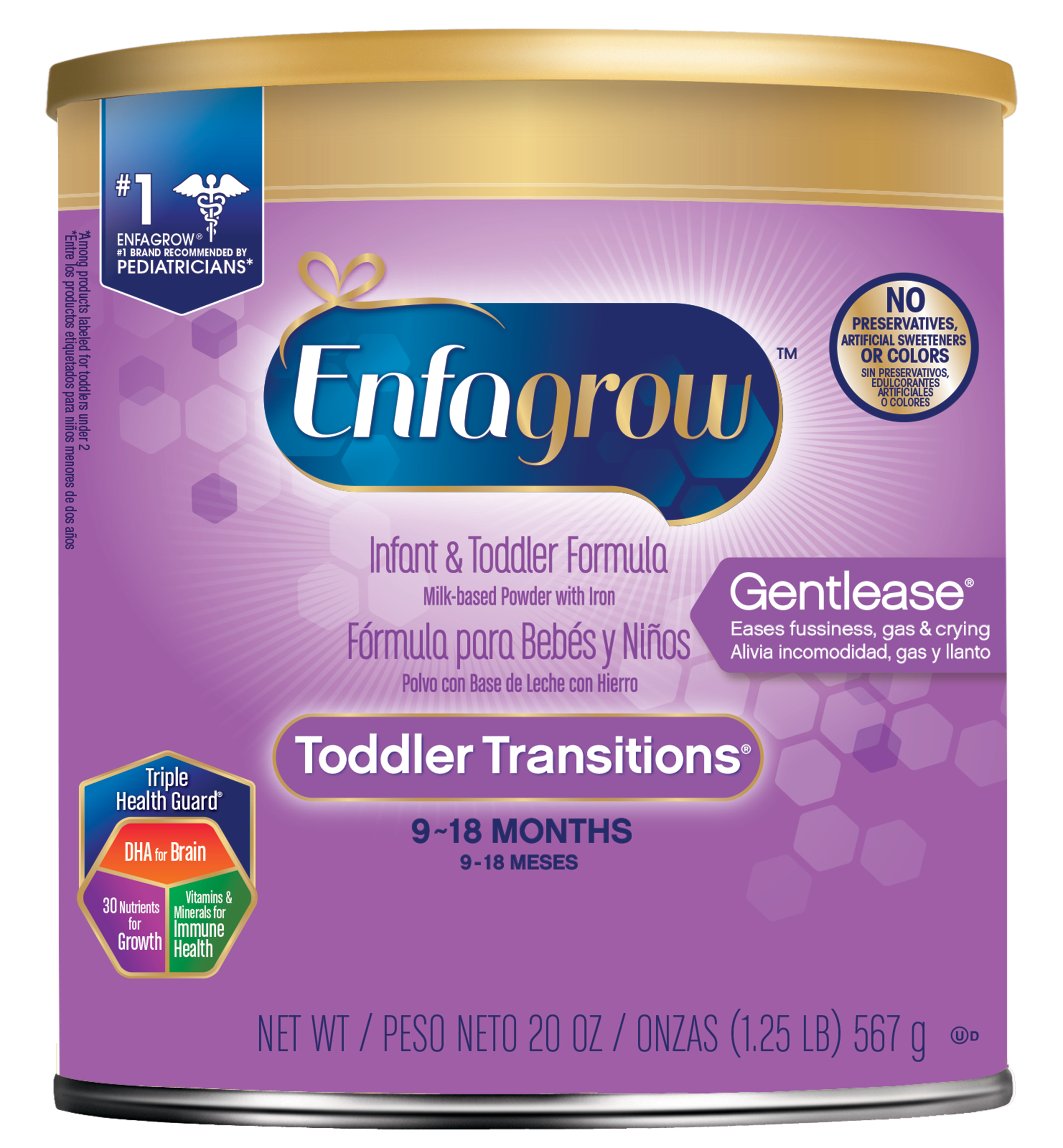 Enfagrow Toddler Transitions Gentlease Formula, 20 oz, 4 count