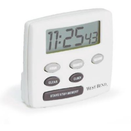NEW White Electronic Timer With Clock Feature With Jumbo LCD Display