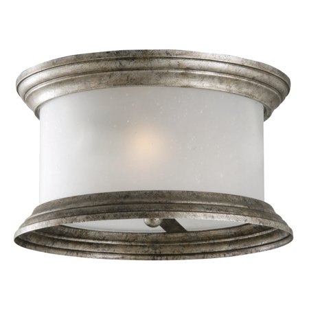 Pewter Entrance (Design House 508366 Glen Dale Rustic 3-Light Indoor/Outdoor Ceiling Flush Mount Light Dimmable Frosted Seedy Glass for Entrance Porch Patio, Weathered Pewter)