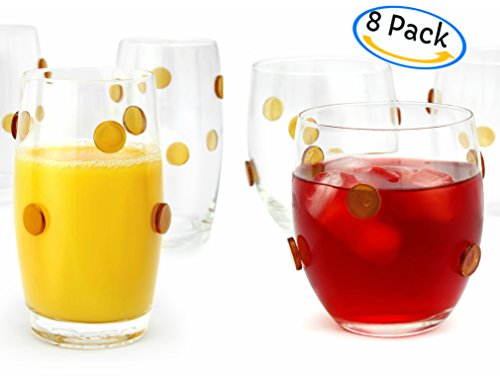 GAC 8 Piece Glassware Set Drinkware Set of 8 Drinking Glasses 4 DOF Stemless Glasses and 4... by Great American Classics