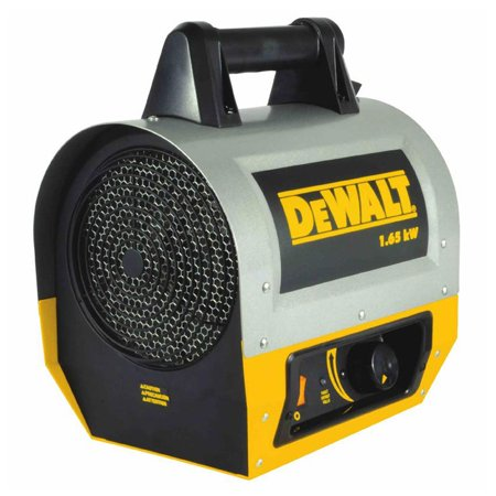 - DeWalt 5,630 BTU 1.65 kW Industrial Jobsite Portable Forced Air Electric Heater