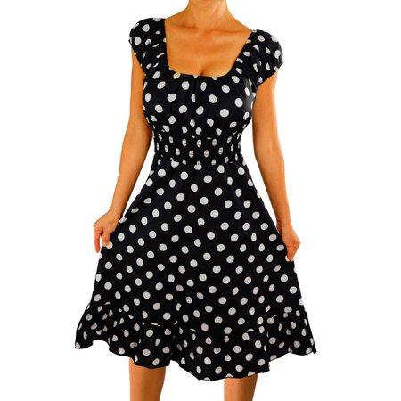 Funfash Plus Size Dress Black White Polka Dots Womens Plus Size Rockabilly Dress - Black And White Polka Dot Headband