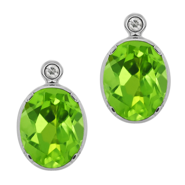 2.72 Ct Oval Green Peridot White Topaz 14K White Gold Earrings