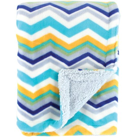 Hudson Baby Plush Blanket with Sherpa Backing - Blue
