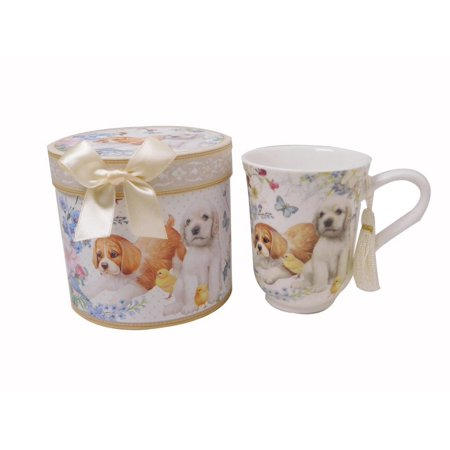 Lightahead Superior Bone China Royal 11.2oz Coffee / Tea Mug in a reusable handmade gift box with ribbon, Tassel on Handle, in cute puppy design