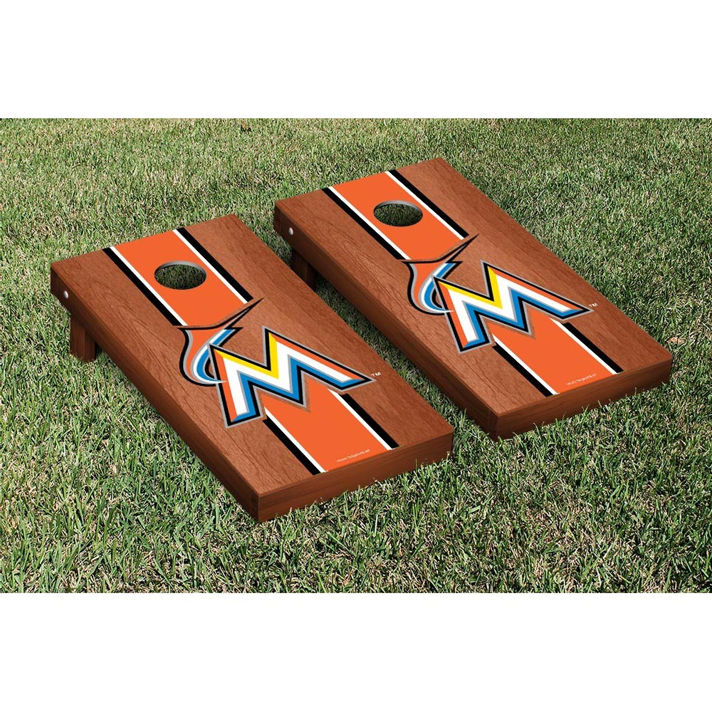 Miami Marlins Rosewood Cornhole Game - No Size
