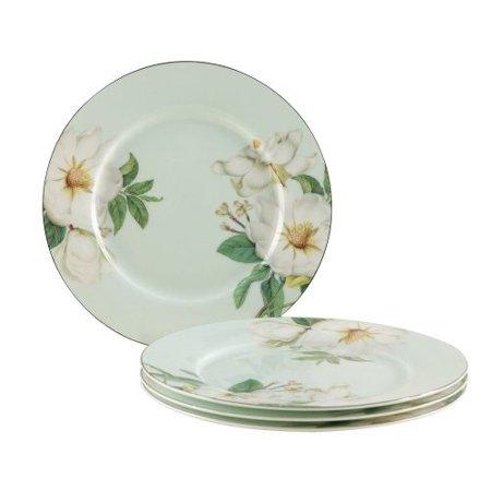 Gracie Bone China 7-1/2-Inch Dessert Plate, Blue White Magnolia, Set of