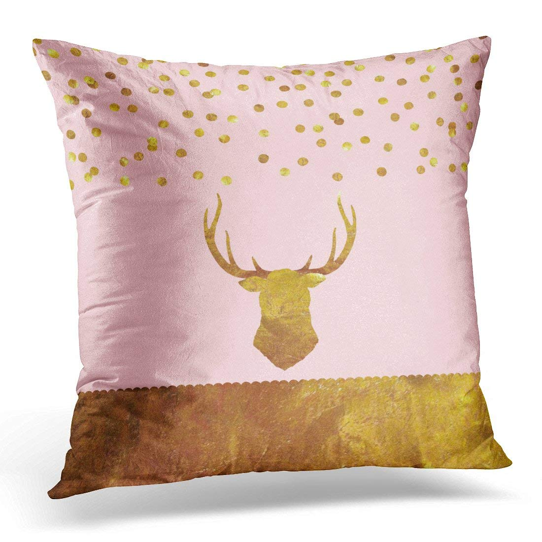 USART Pink Rose Gold Foil Confetti Stag Christmas Pillow Case Pillow Cover 20x20 inch