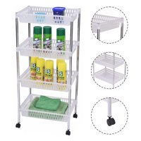 """GHP 16.4""""x11.6""""x36.1"""" Steel Frame 4-Layers Trolley Cart Storage with Plastic Boxes"""