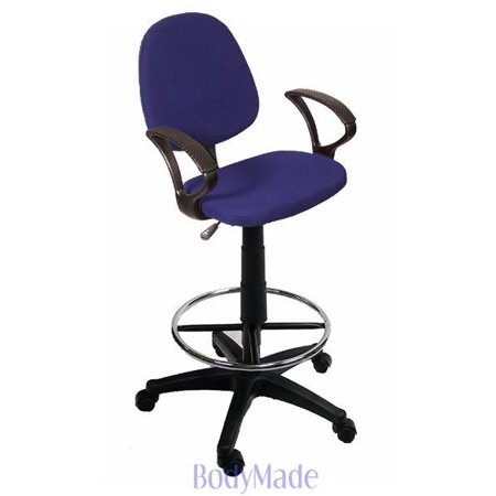 Tremendous Bodymade Fabric Drafting Stool With Arms And Footrest Blue Uwap Interior Chair Design Uwaporg