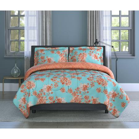 Inspired Surroundings 3- Piece Full/Queen Comforter Set, Watercolor Garden Floral Garden Queen Comforter