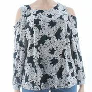 INC NEW Black Womens Size 3X Plus Cold-Shoulder Floral-Print Blouse