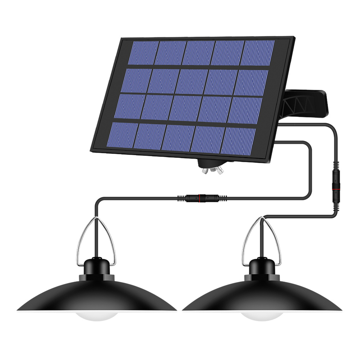 Double Head Solar Pendant Lights Waterproof Hanging Lamp for Outdoor Shed Barn