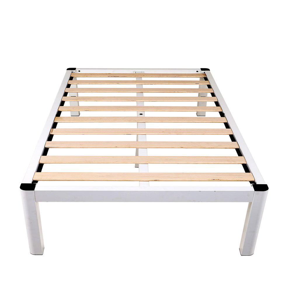 "intelliBASE 14"" Deluxe White Metal Platform Bed Frame with Wooden Slats, Full"