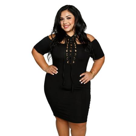 Xehar Womens Plus Size Grommet Lace Up Choker Bodycon Dress