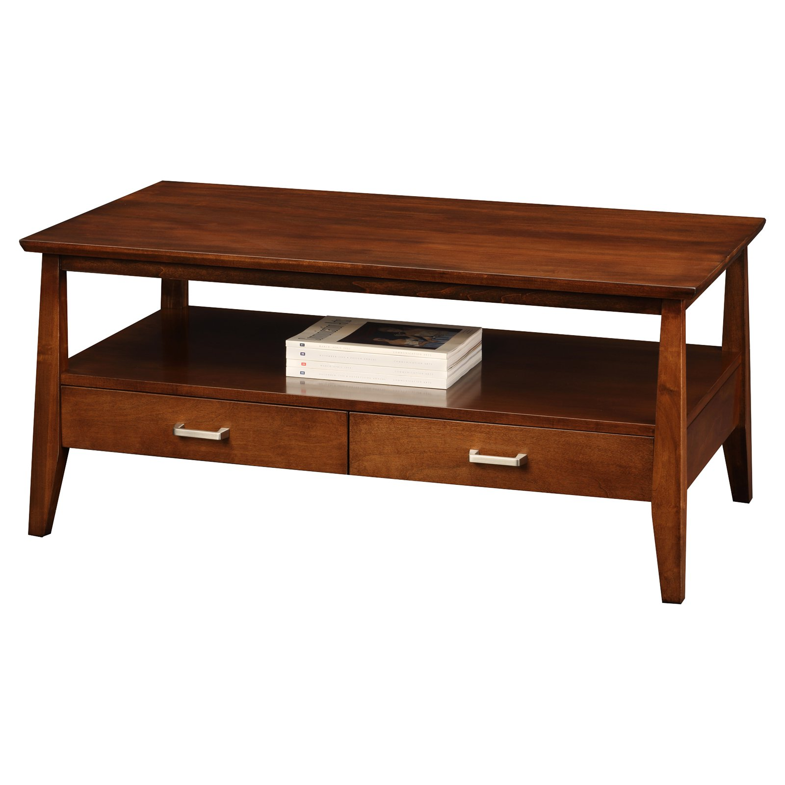 Leick Delton Two Drawer Storage Solid Wood Coffee Table in Sienna by Leick Furniture