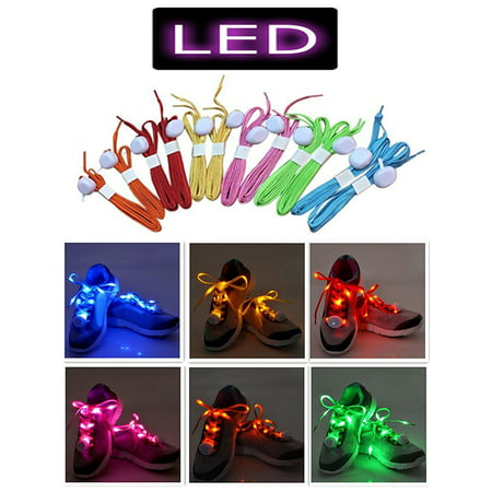 IClover [ 2 Pairs ] LED Shoelaces Luminous Flashing Shoelaces Disco Party Light Up 4 Flashing Modes Lighting Glow Nylon Strap Orange & - Led Light Up Shoelaces