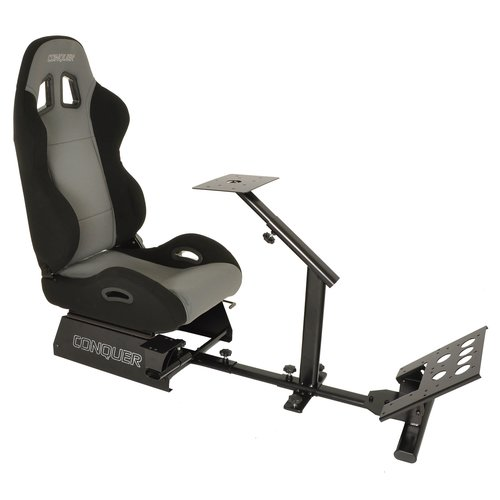 Conquer Racing Simulator Cockpit Driving Gaming Reclinable Seat with Gear Shifter Mount