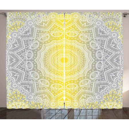 Grey and yellow curtains 2 panels set mandala ombre old - Grey and yellow living room curtains ...