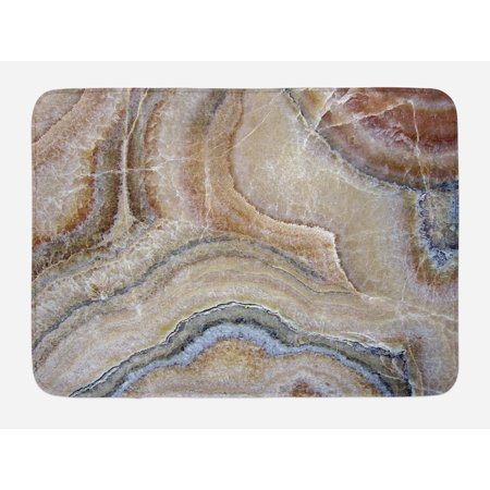 Marble Bath Mat, Surreal Onyx Stone Surface Pattern with Nature Details Artistic Picture, Non-Slip Plush Mat Bathroom Kitchen Laundry Room Decor, 29.5 X 17.5 Inches, Cinnamon Grey Tan Beige, (Nature Nap Mat)