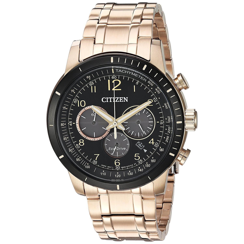 Citizen Men's Brycen 43mm Rose Gold-Tone Steel Bracelet & Case Quartz Black Dial Analog Watch CA4359-55E by CITIZEN