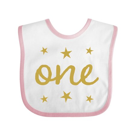 1st Birthday Outfit One Gold Baby Bib 1st Birthday Girl Bib
