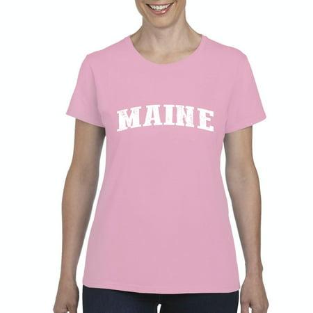 J H I Me Maine Map Portland Augusto Flag Black Bears Home University Of Maine  Womens Shirts