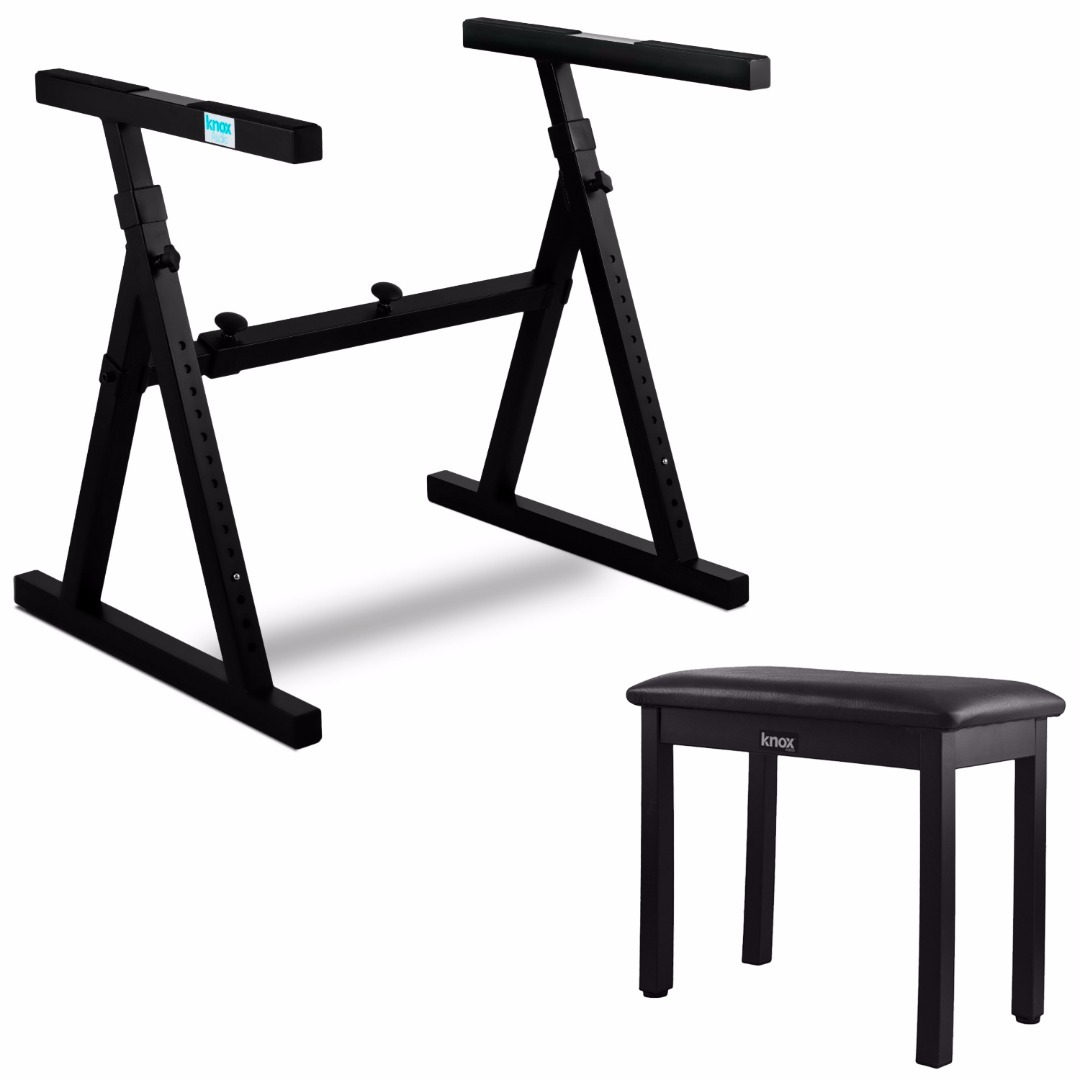 Knox Gear Z-Style Electronic Keyboard Stand + Knox Gear Full-Size 19-Inch Piano Bench