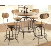 A Line Furniture Rolien Nostalgic Farmhouse Distressed Wood Adjustable Bar Table and Stools 5-piece Set