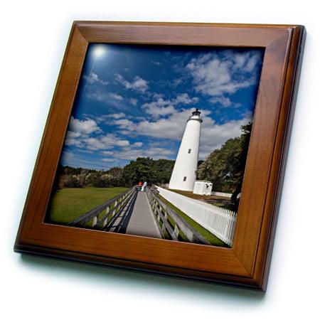 3dRose North Carolina, Cape Hatteras, Ocracoke, Ocracoke Lighthouse - Framed Tile, 6 by 6-inch